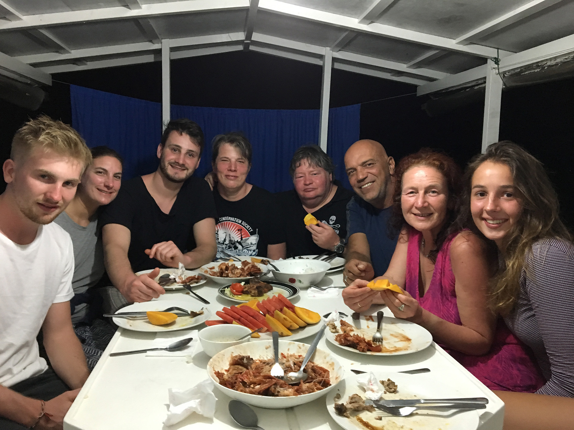 Hearty dinner after a long day diving at Apo Reef